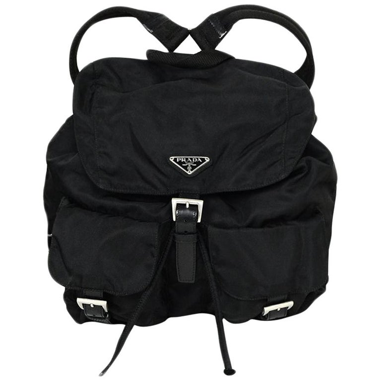 Prada Black Nylon Backpack Bag with Two Front Buckle Pockets For Sale
