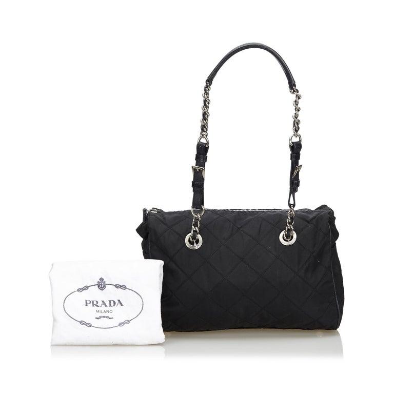 Prada Black Nylon Chain Tote Bag For Sale 6