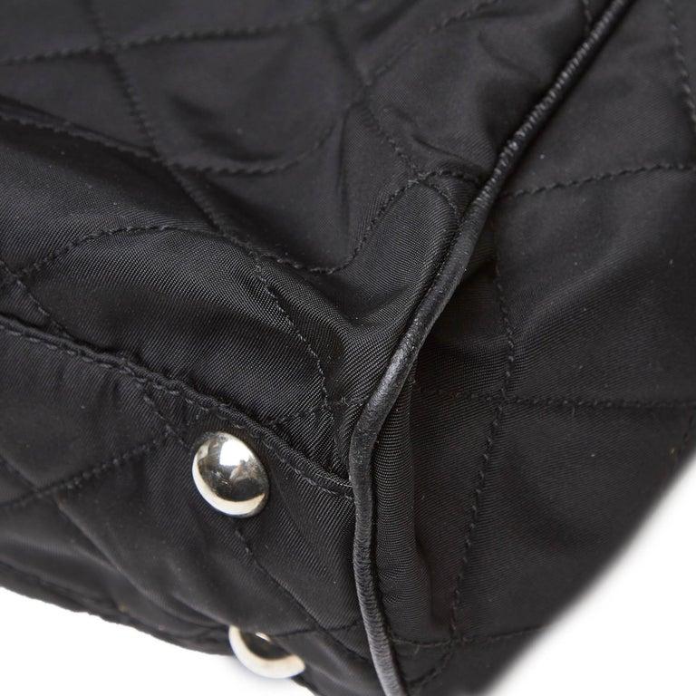 Prada Black Nylon Chain Tote Bag For Sale 5