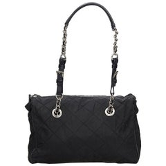 Prada Black Nylon Chain Tote Bag