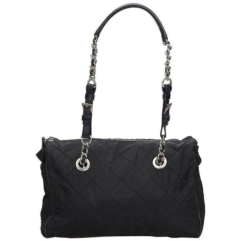 Prada Black Nylon Chain Tote Bag For Sale