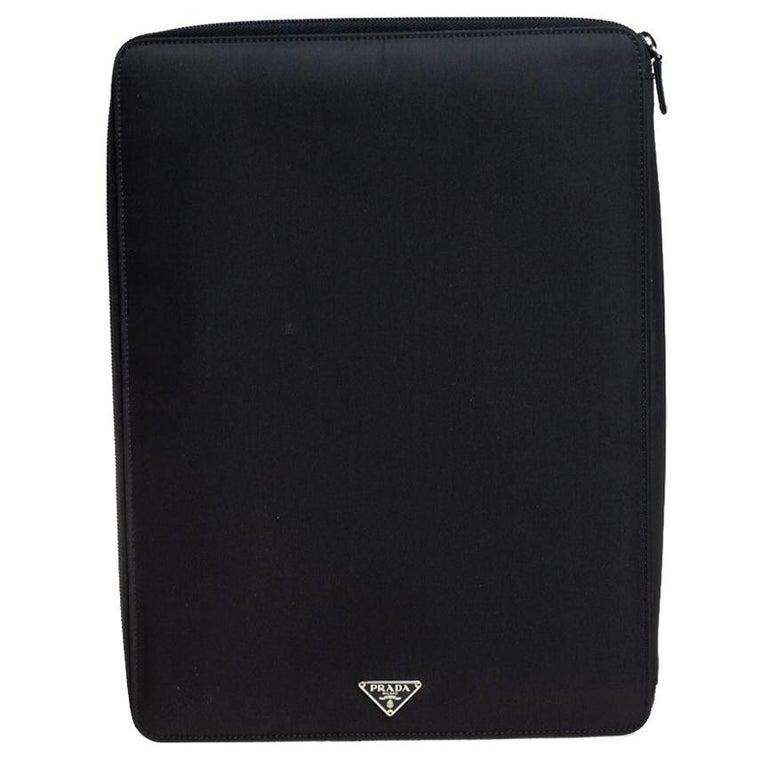 Prada Black Nylon Document Holder For Sale