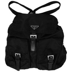 Prada Black Nylon Double Buckle Pocket Backpack Bag w/ Leather Trim