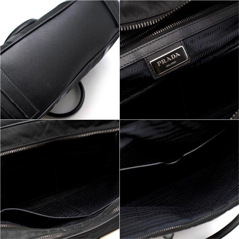 Prada Black Nylon Double Compartment Briefcase For Sale 6