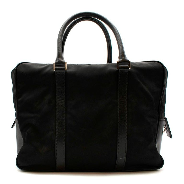 Prada Black Nylon Double Compartment Briefcase In Excellent Condition For Sale In London, GB