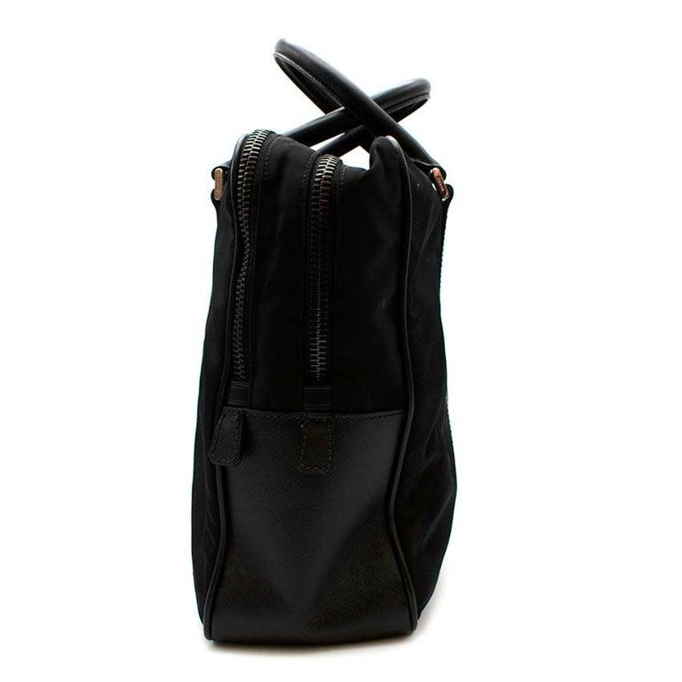 Women's or Men's Prada Black Nylon Double Compartment Briefcase For Sale
