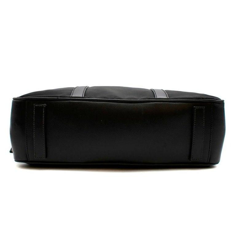 Prada Black Nylon Double Compartment Briefcase For Sale 1