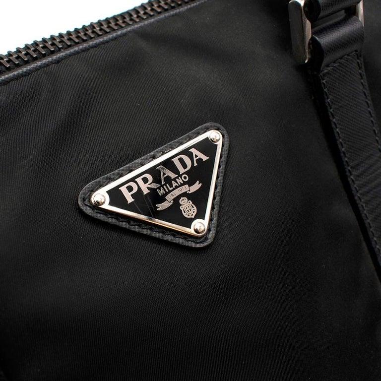 Prada Black Nylon Double Compartment Briefcase For Sale 2