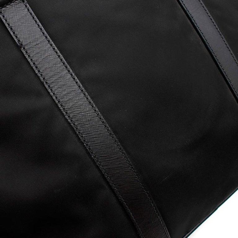 Prada Black Nylon Double Compartment Briefcase For Sale 3