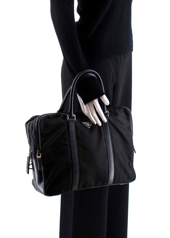 Prada Black Nylon Double Compartment Briefcase For Sale 4