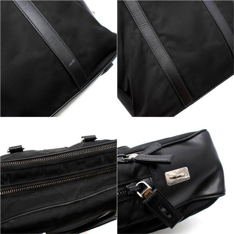 Prada Black Nylon Double Compartment Briefcase For Sale 5