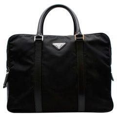 Prada Black Nylon Double Compartment Briefcase