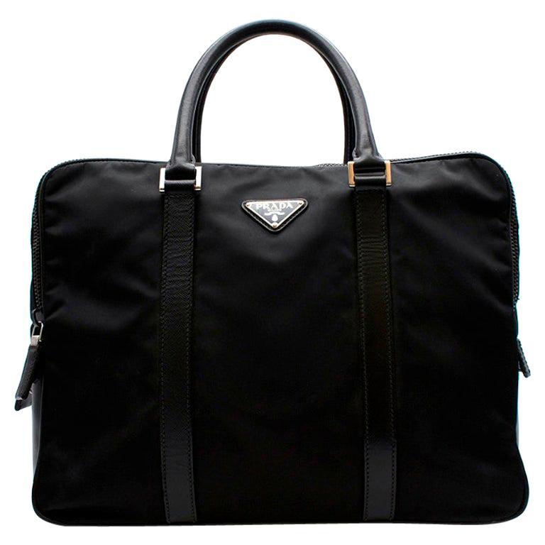 Prada Black Nylon Double Compartment Briefcase For Sale