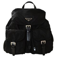 Prada Black Nylon Double Pocket Backpack Bag