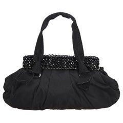 Prada Black Nylon Fabric Beaded Handbag Italy