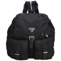 Prada Black Nylon Fabric Drawstring Backpack Italy