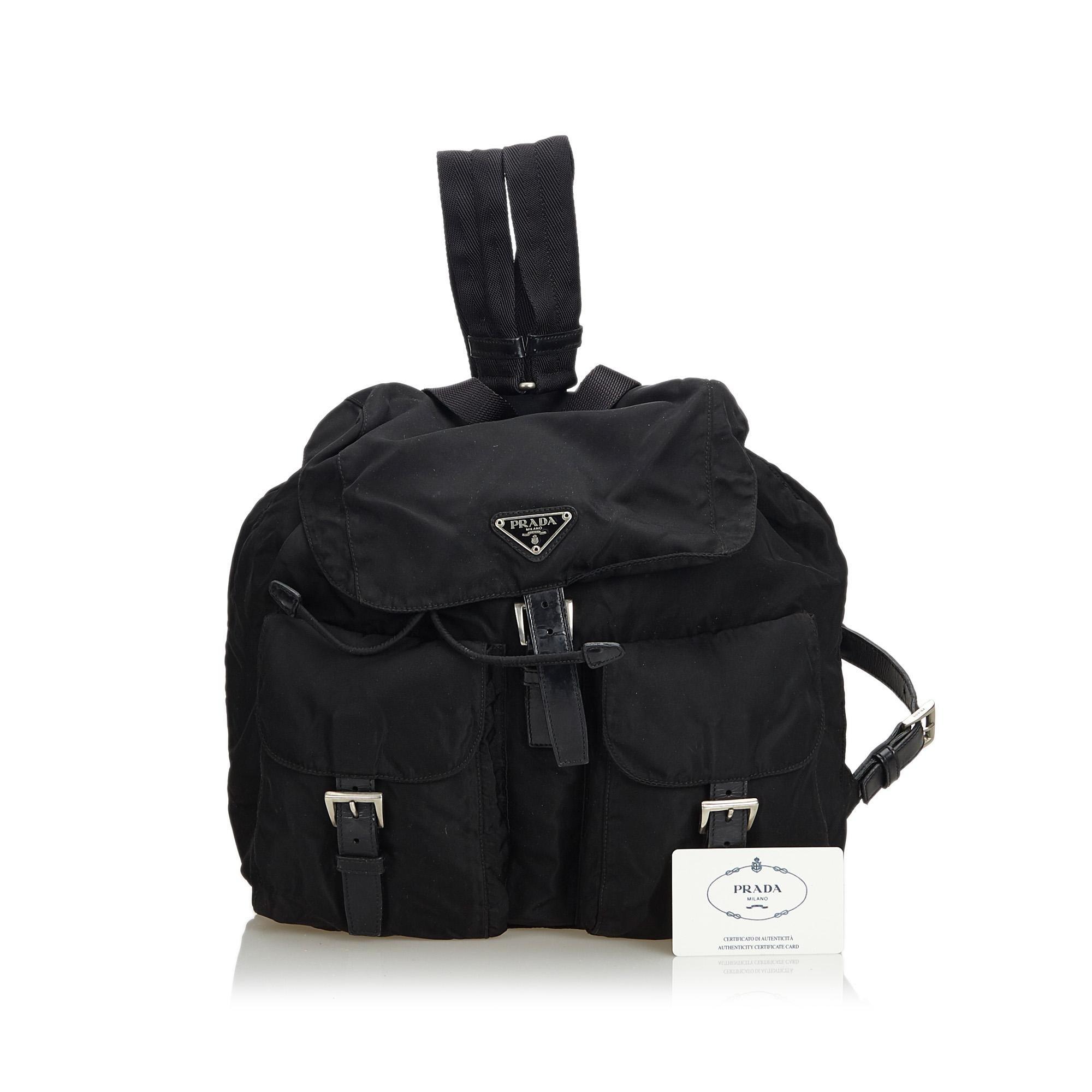 b248b9f8c8b4 Prada Black Nylon Fabric Drawstring Backpack Italy w/ Authenticity Card at  1stdibs