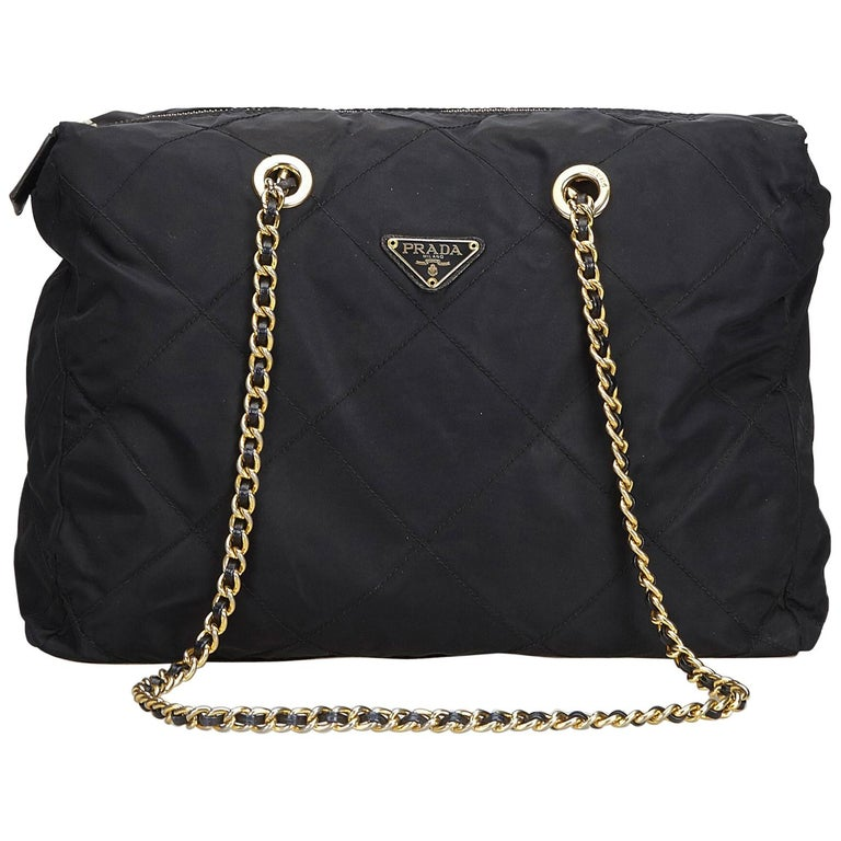 ff600220ddb8 Prada Black Nylon Fabric Quilted Chain Shoulder Bag Italy For Sale ...