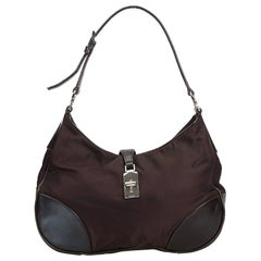 Prada Black Nylon Fabric Shoulder Bag Italy w/ Dust Bag
