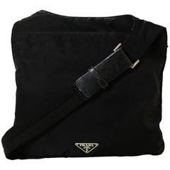 Prada Black Nylon Flat Messenger Bag