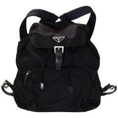 Prada Black Nylon Front Zip Pocket Backpack Bag