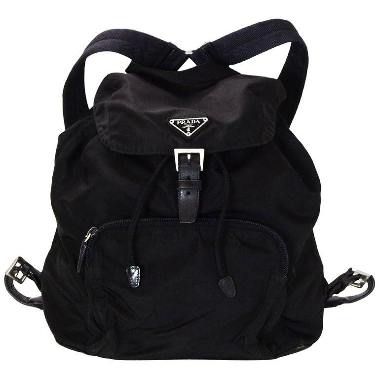 1e95ff6fcdeeb7 Prada Black Nylon Front Zip Pocket Backpack Bag For Sale at 1stdibs