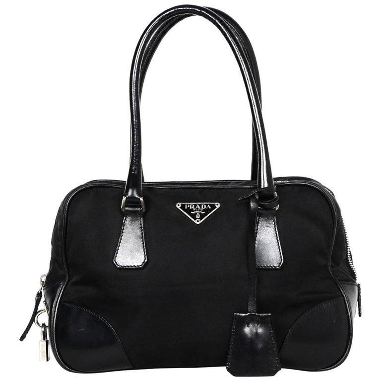 1d09a7840a55 Prada Black Nylon and Leather Handbag For Sale at 1stdibs