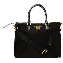 Prada Black Nylon/Leather Zip Top Tote Bag