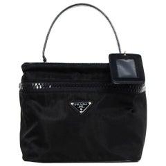 Prada Black Nylon/Leather Zip Top Vanity Case