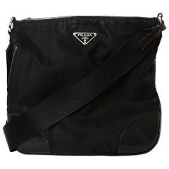 Prada Black Nylon Messenger Bag w/ Leather Trim