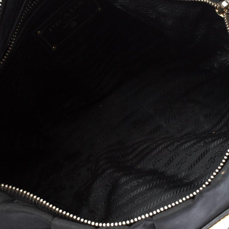 Prada Black Nylon Pleated Shoulder Bag For Sale 2