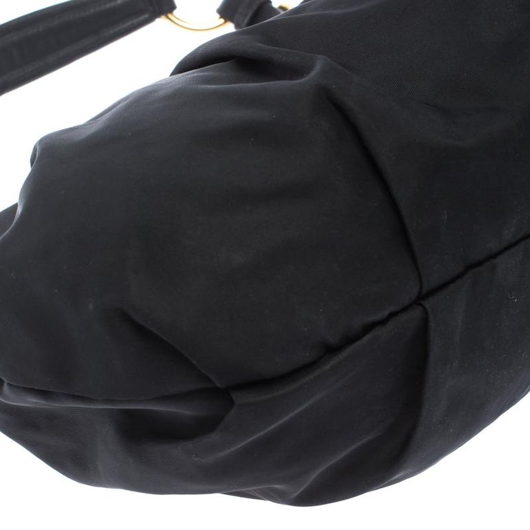 Prada Black Nylon Pleated Shoulder Bag For Sale 5