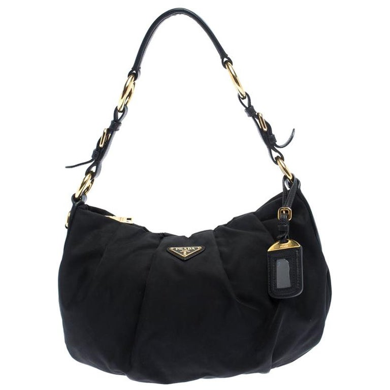 Prada Black Nylon Pleated Shoulder Bag For Sale
