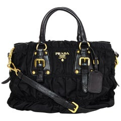 Prada Black Nylon Ruched Tote Bag W/ Strap