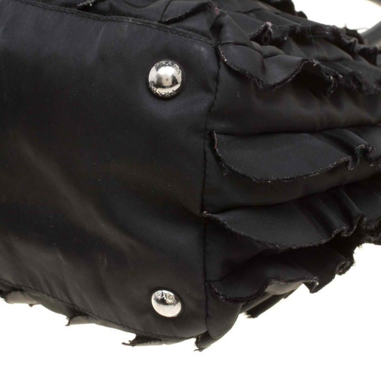 Prada Black Nylon Ruffle Tote 6