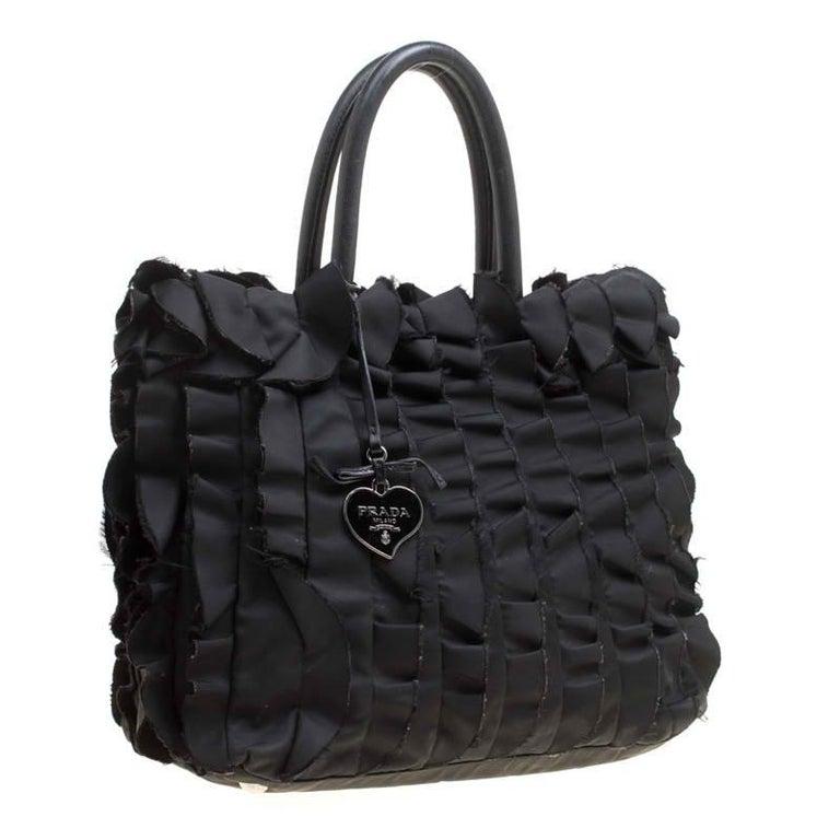Women's Prada Black Nylon Ruffle Tote