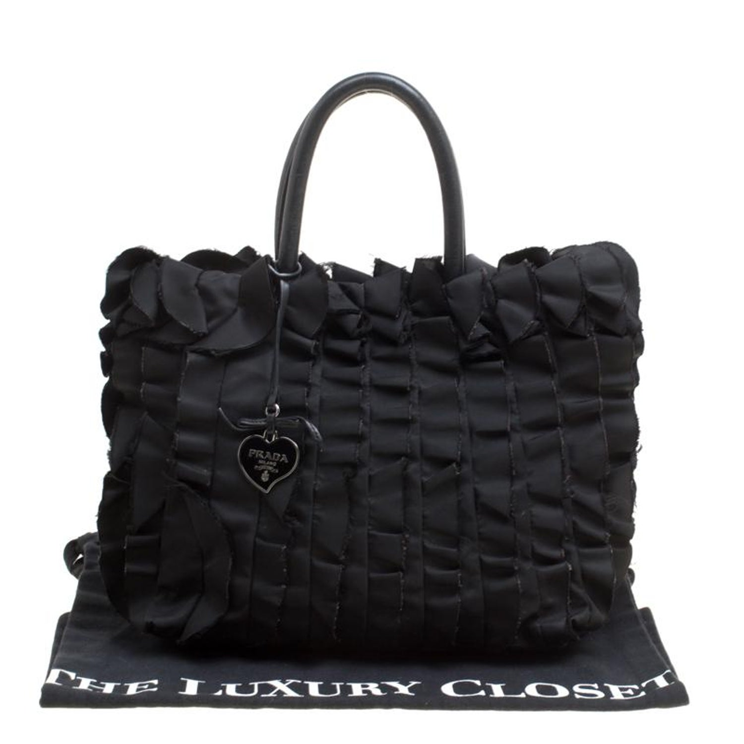 6e21b0713eb7 Prada Black Nylon Ruffle Tote For Sale at 1stdibs