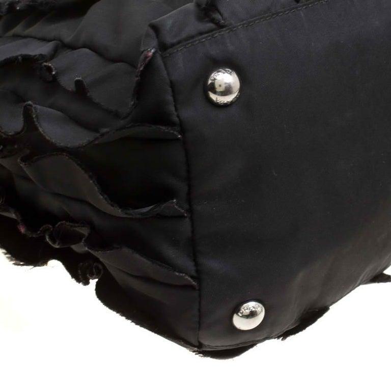 Prada Black Nylon Ruffle Tote 5