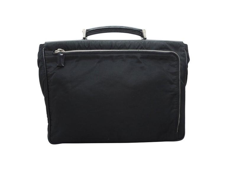 Prada Black Nylon & Saffiano Leather Briefcase In Good Condition For Sale In New York, NY