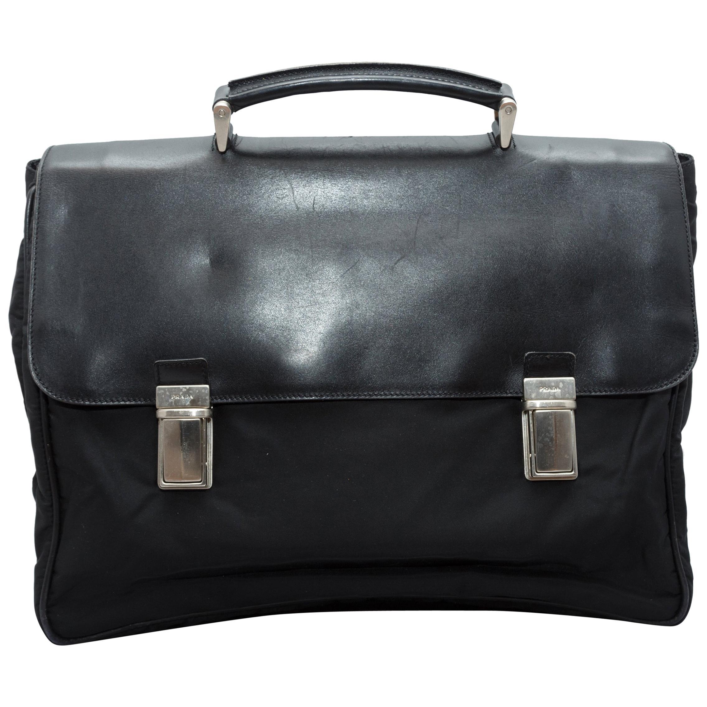 Prada Black Nylon & Saffiano Leather Briefcase