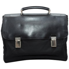 Prada Black Nylon & Saffiano Leather Briefcase