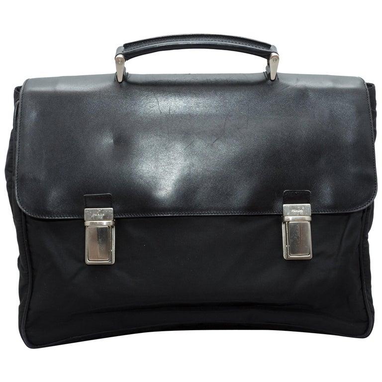Prada Black Nylon & Saffiano Leather Briefcase For Sale