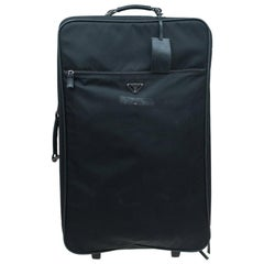 Prada Black Nylon Signature Rolling Suitcase