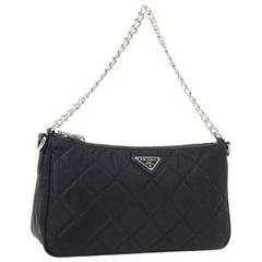 Prada Black Nylon Silver Chain Pochette Small Top Handle Shoulder Bag