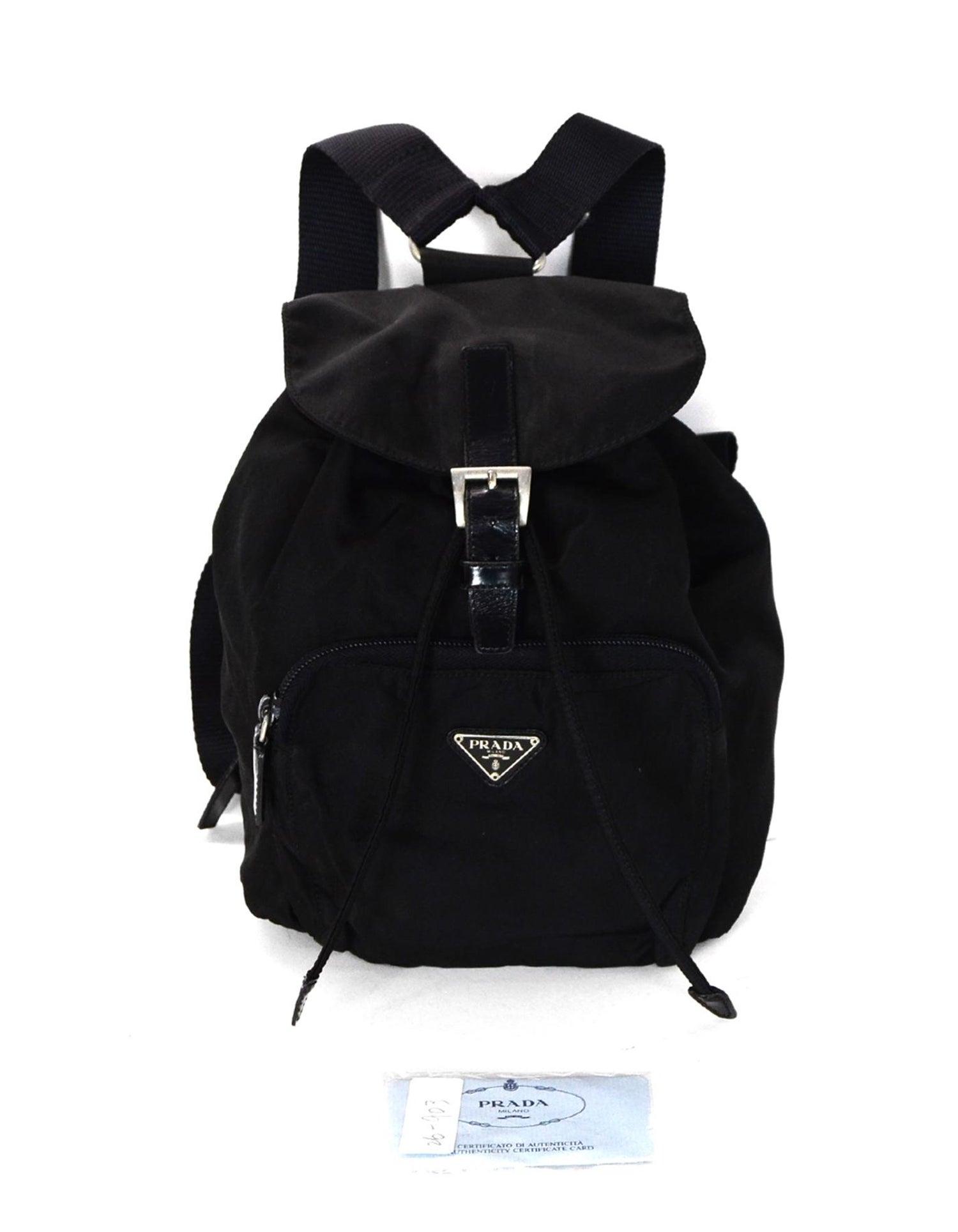 14521fc8c2adbc Prada Black Nylon Small Backpack Bag W/ Front Zip Pocket at 1stdibs