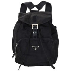 Prada Black Nylon Small Backpack Bag W/ Front Zip Pocket