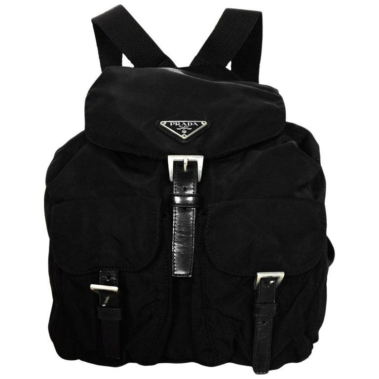 7f47b1ae5f9d72 Prada Black Nylon Small Double Buckle Pocket Backpack Bag at 1stdibs