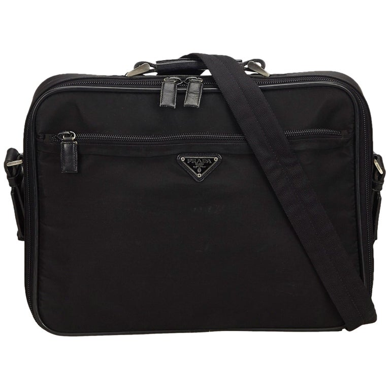 92d83a74a2e9 Prada Black Nylon Tessuto Business Bag at 1stdibs