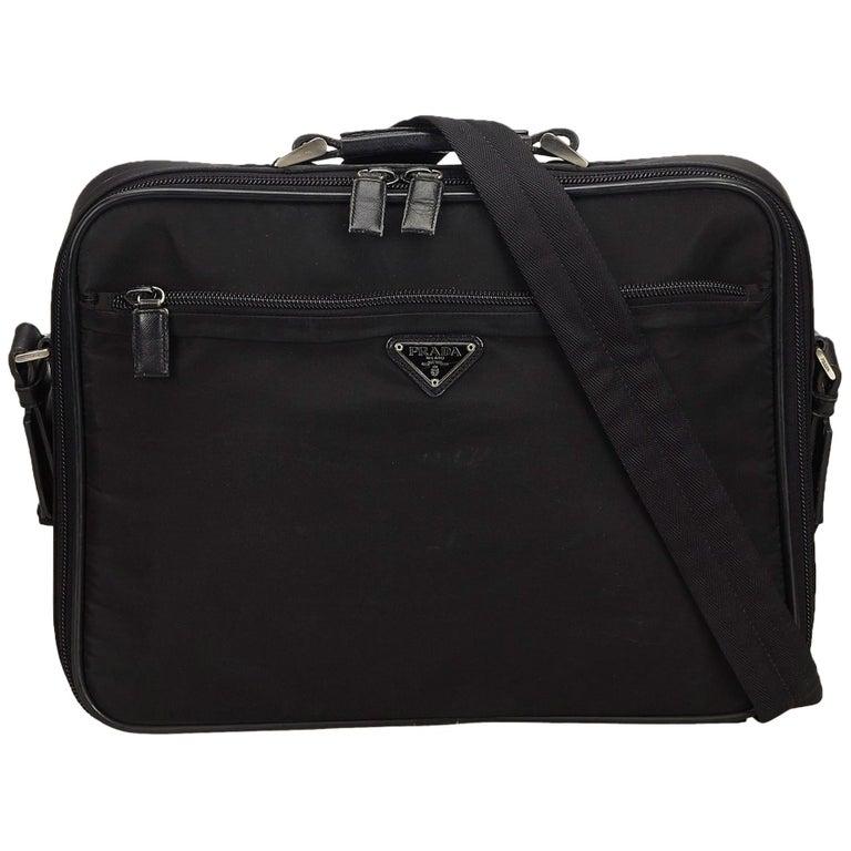 cf37eed4d8d1 Prada Black Nylon Tessuto Business Bag at 1stdibs