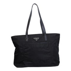 Prada Black Nylon Tessuto Vela Nero Tote Bag MM